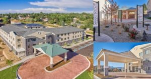 Collage of three images of the exterior of Hatler-May Village from different angles.